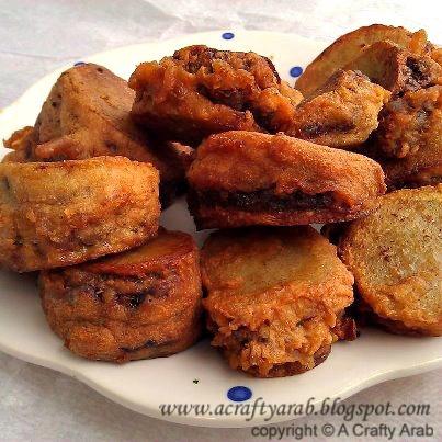 Libyan Mubatan, mince stuffed potato wedges dipped in batter mmmmmmmmmm