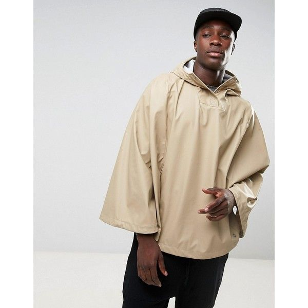 Herschel Forecast Waterproof Poncho in Beige ($49) ❤ liked on Polyvore featuring men's fashion and beige