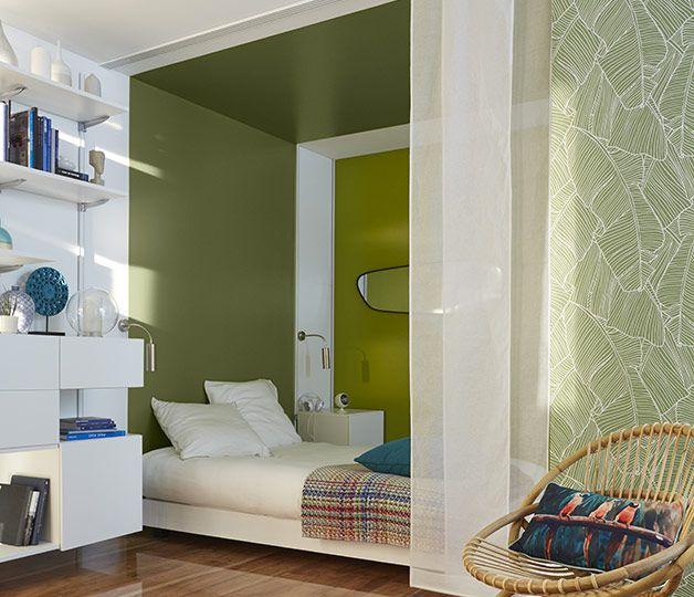 Le vert, une couleur très reposante propice à la rêverie, parfaite dans une chambre !