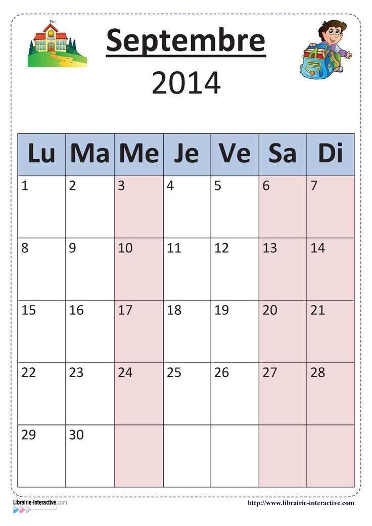 Plusieurs versions illustrées du calendrier scolaire 2014-2015 pour un affichage en classe.