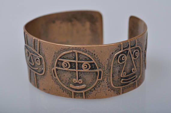Rare unique vintage bronze bracelet Funny faces by Percz