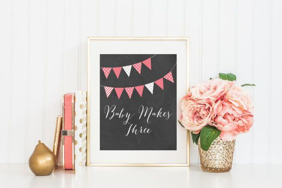 8x10 Baby Makes Three  Coral Bunting Flags Instant by FloraAndFont