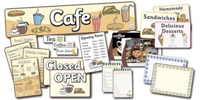 Everything you need to create a fab cafe role play area in your classroom.
