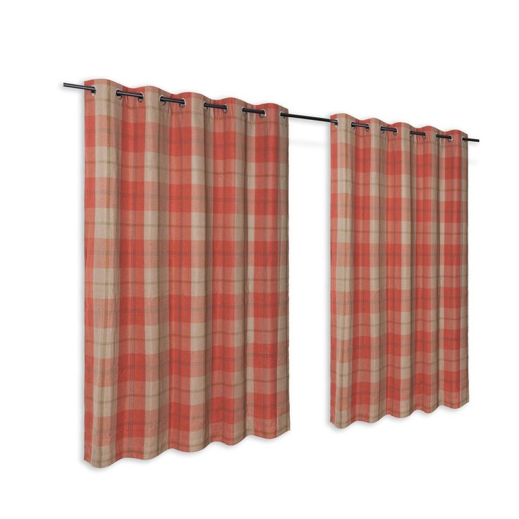 Orange Check Woven Eyelet Lined Curtains (W)167 cm (L)228 cm | Departments | DIY at B&Q