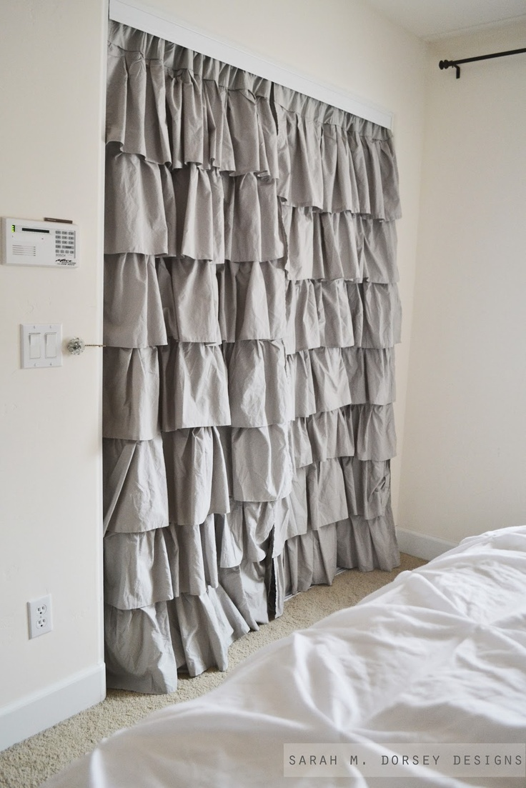 Curtains for closet doors - This Ruffled Draped Closet Door Seems To Be Trending Drapery Panels For Closet Doors Hang From Inside I Love These For Curtains In The Office