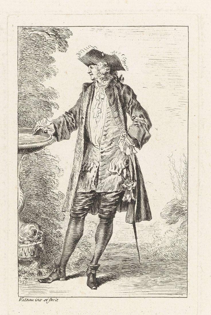 Staande man bij een bassin gekleed volgens de Franse mode ca. 1710, Jean Antoine Watteau, Simon Henri Thomassin, 1710 - 1738