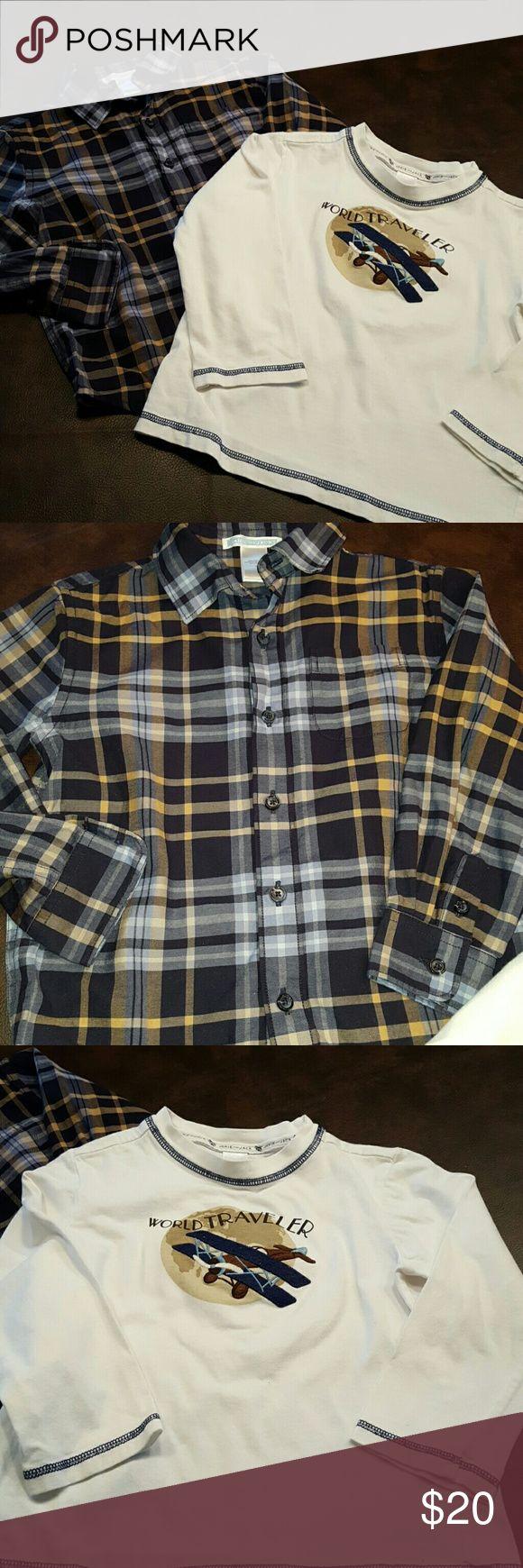 BOYS ❄Janie & Jack shirt bundle sz 4 EUC Such great quality from Janie & Jack. Button down plaid and long sleeve tee. Sz 4. EUC. Smoke free, pet free home. Janie and Jack Shirts & Tops