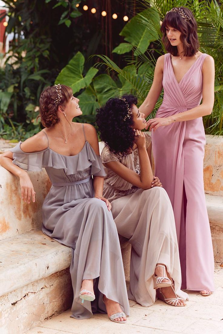 25 cute ruffles bridesmaid dresses ideas on pinterest formal this color palette is so dreamy mix and match bridesmaids ruffle bridesmaids dresses ombrellifo Images