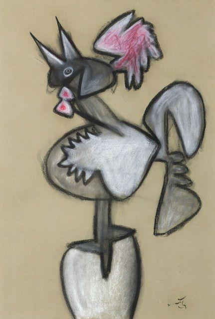 Roberto Matta | Untitled (Rooster) (n.d.),Pastel y carboncillo sobre papel. ADICIÓN