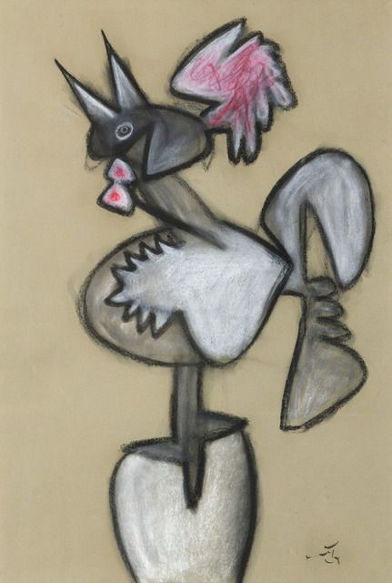 Roberto Matta | Untitled (Rooster) (n.d.),Pastel y carboncillo sobre papel…