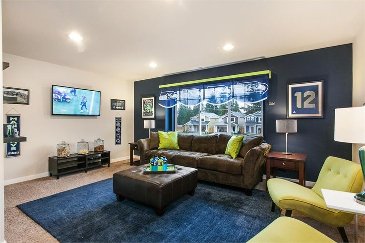Seattle Seahawks themed bedroom at Cascade Park model home in Everett Washington.