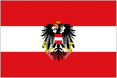 The Austrian flag with emblem.