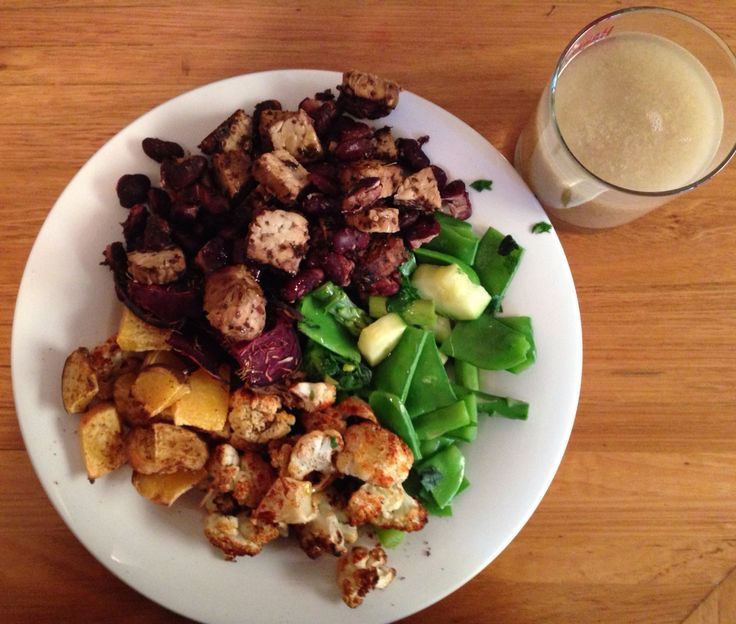 Dinner   -6oz tempe and red kidney beans and Dulse seaweed -6oz Steamed: snow peas, asparagus, zucchini, basil and parsley - 6oz Baked: beetroot(fresh lemon juice and thyme) cauliflower(paprika) swede(nutmeg)   -1 tbsp flaxseed meal    -1 tbsp olive oil