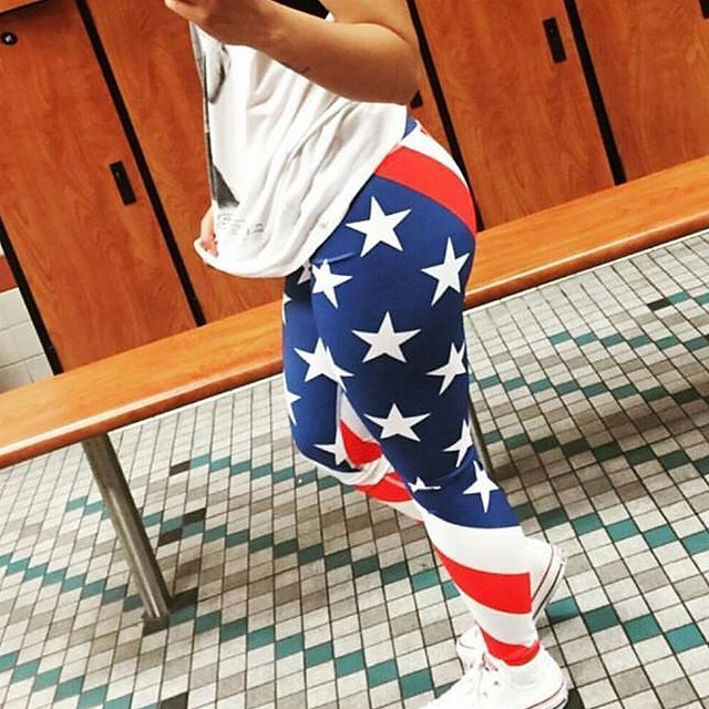 Red white and blue patriotic leggings!  These are perfect for the gym, running and crossfit.