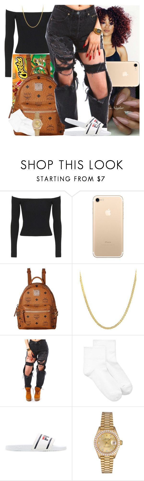 """Untitled #1006"" by msixo ❤ liked on Polyvore featuring Topshop, MCM, Lord & Taylor, Hue, Fila and Rolex"