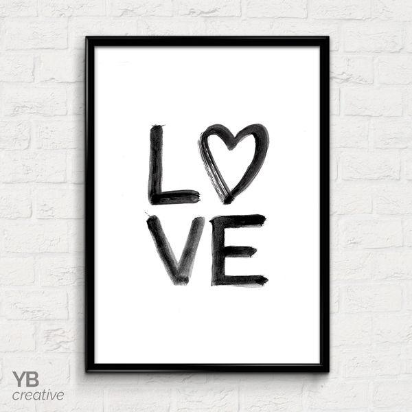 LOVE > brush lettered monochrome typography print || YBcreative SHOP #ybcreative
