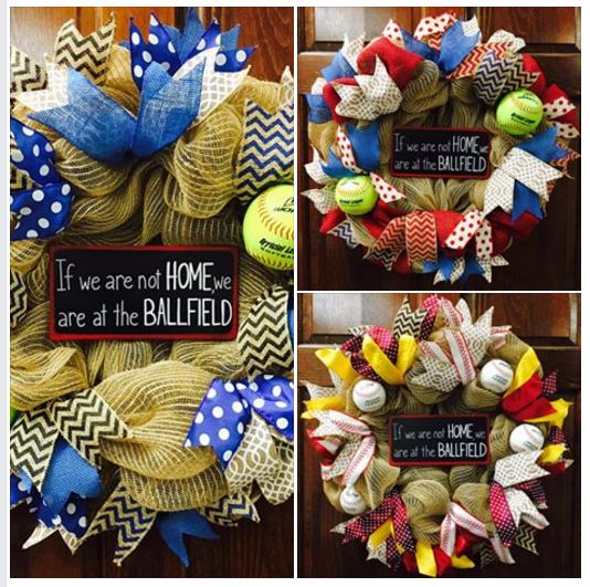 If we are not HOME, we are at the BALLFIELD Baseball / Softball wreaths by Kristy's Creations https://www.facebook.com/kristycreations/