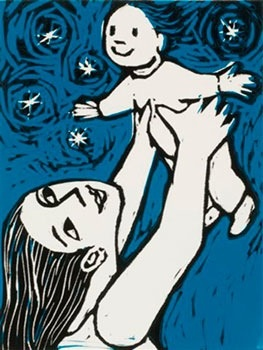castorandpollux.co.uk Flying baby, Anita Klein limited edition lino cut