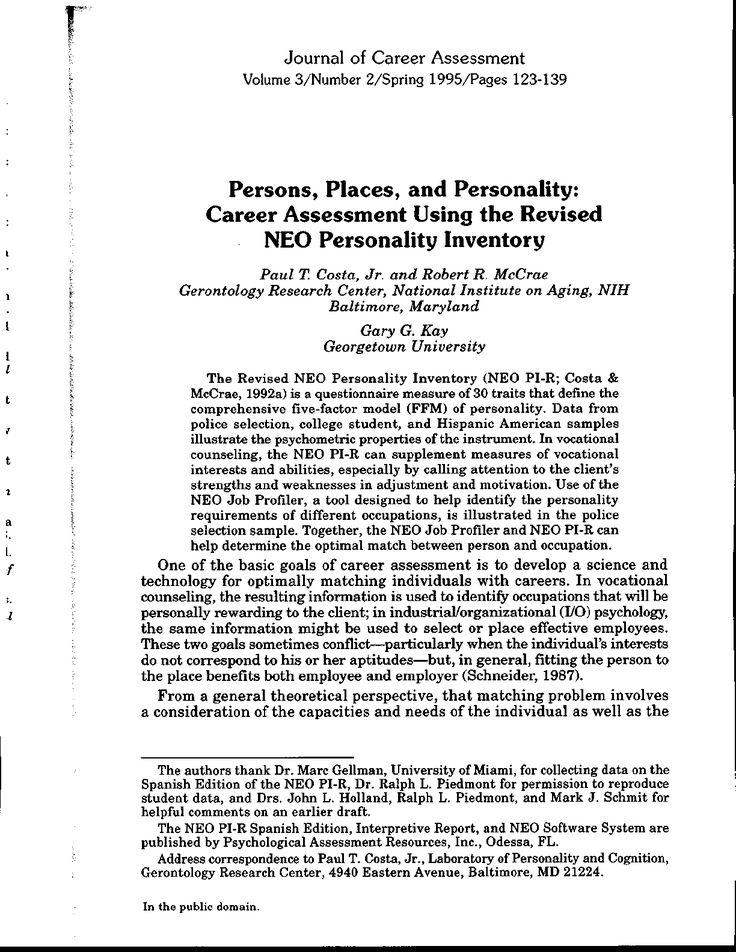 The Revised NEO Personality Inventory (NEO PI-R; Costa & McCrae, 1992a) is a questionnaire measure of 30 traits that define the comprehensive five-factor model (FFM) of personality. Data from...