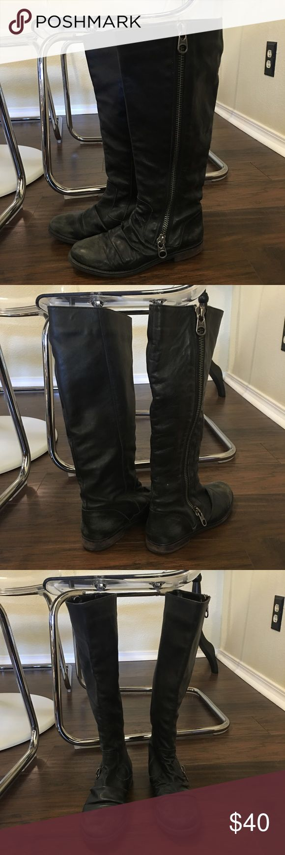 Steve Madden Moto boots Super cute and fun boots. Black with a distressed look. Very comfy. Worn but in good condition. Steve Madden Shoes
