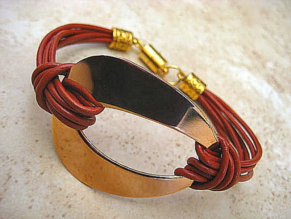 "Chic Paprika Red Leather Pink Rose Gold Stainless Steel Abstract Bracelet ... Magnetic Clasp ...""FREE SHIPPING""    by LeatherDiva, $24.00"
