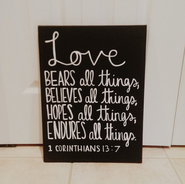 1st Corinthians Bible Verse Canvas Love Bears All by QuotesOfNote