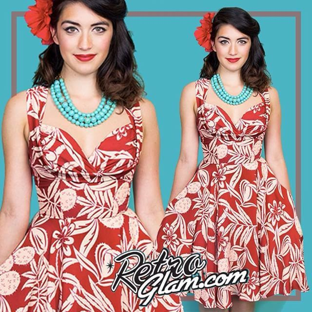 We are in love with the Honey Sun Dress from Trashy Diva in Cactus Rouge.  Find it online www.retroglam.com #retroglam #retroglamclothing #pinup #rockabilly #vintagestyle #trashydiva