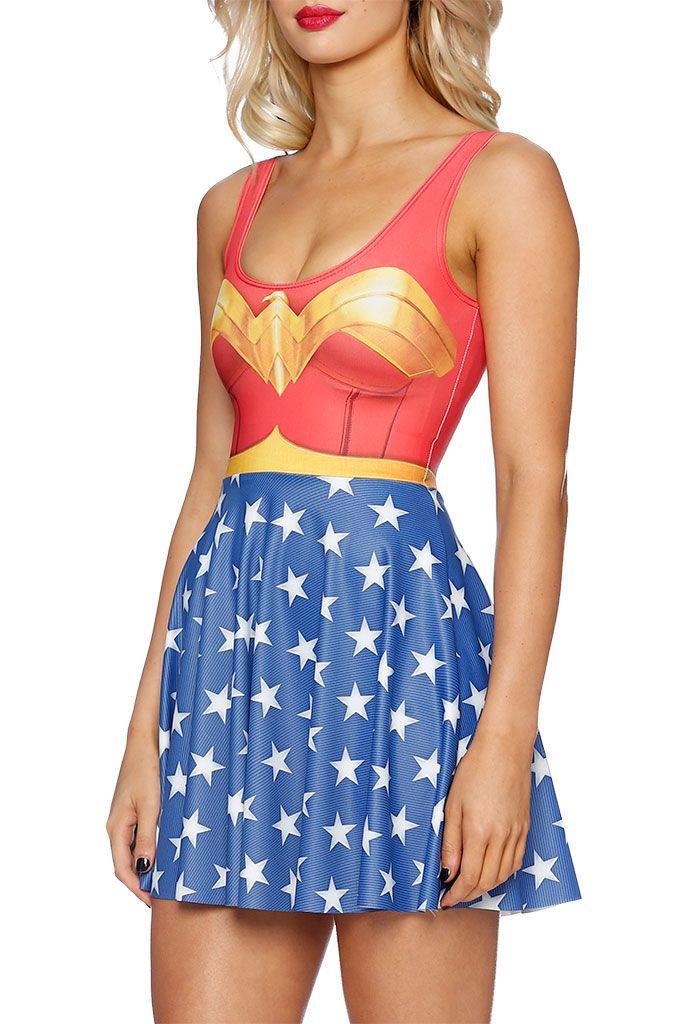 Wonderwoman Skater Dress (AU $95.00) by Black Milk Clothing
