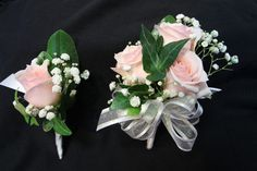 Blush pink mini garden roses with baby\'s breath [gypsophlia], English ivy foliage.  Matching corsage &  boutonniere. Created by Judith Marie at Fox Bros Floral, Hartland, WI