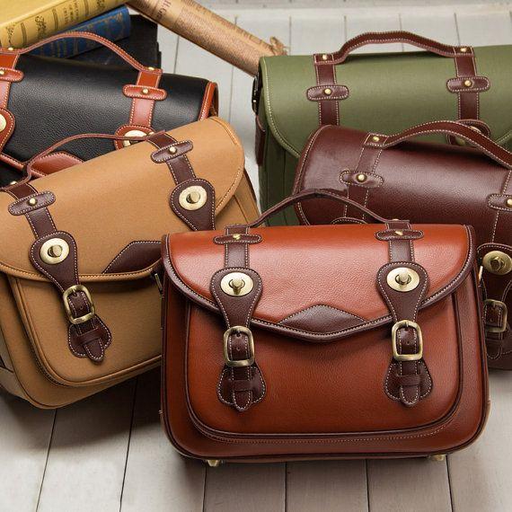 Christmas present idea DSLR Leather Camera Bag Brown ...