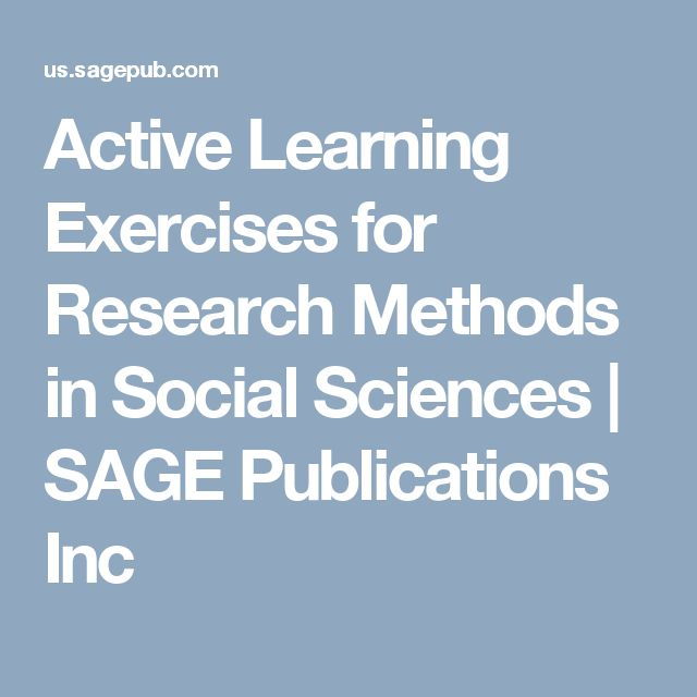 Active Learning Exercises for Research Methods in Social Sciences   SAGE Publications Inc