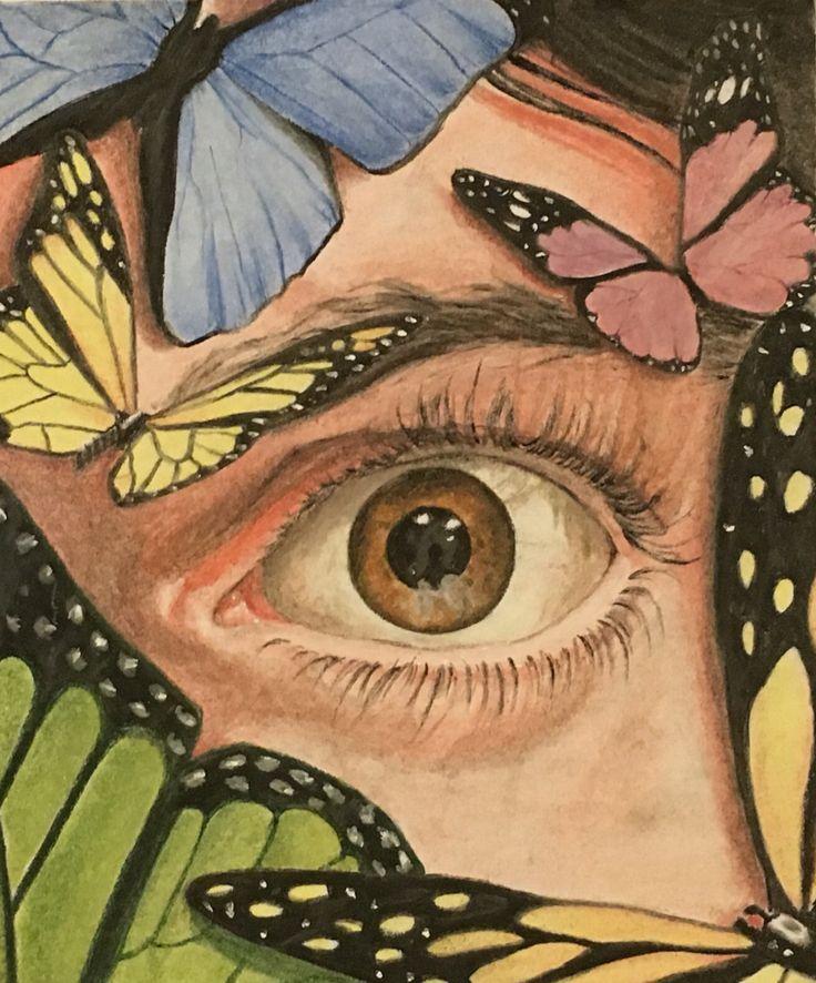 #drawing #art #eye #butterfly #pastel #colors