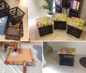 Transform Milk Crates Into Cute Seats