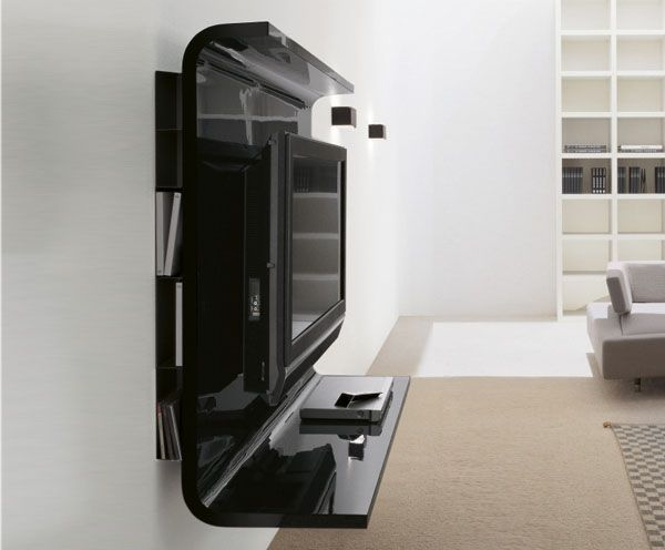 Glass Wall Tv Unit Elegant Black Side Design Concept