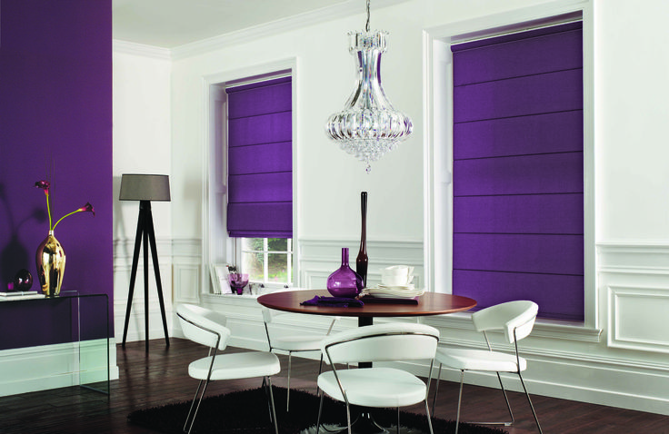 Carnival Purple Roman Blinds:. Superb vibrant colour for any room. Please call for quote on how we can dress your room 020 8866 0555