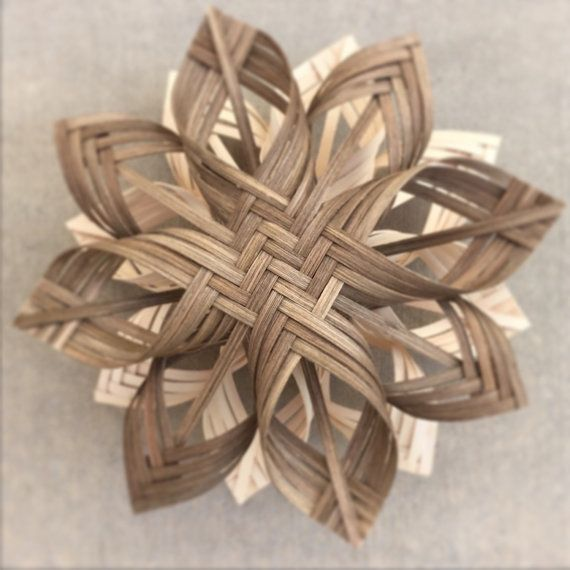 Basket Weaving Ornaments : Lg penna twill cherokee woven star ornament tree by