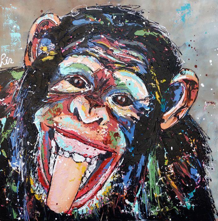 Vrolijk Schilderij Vrolijke aap