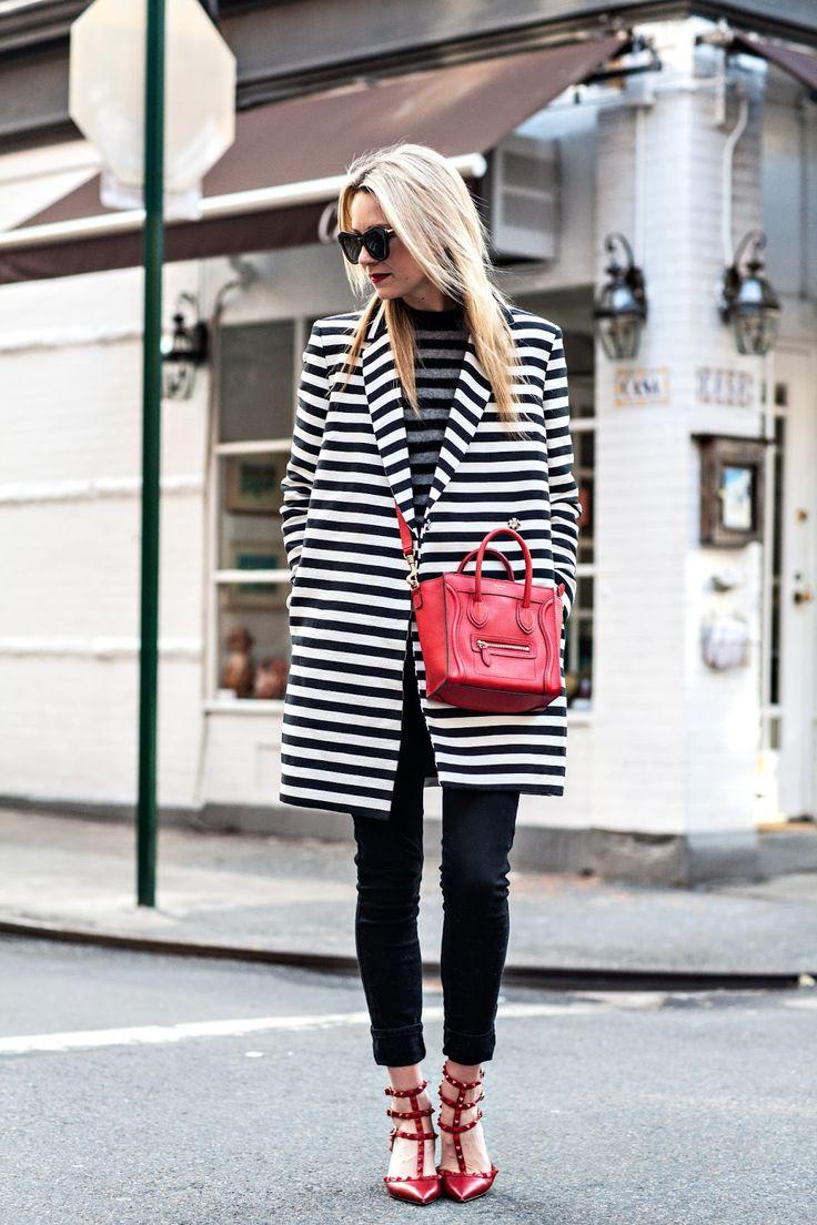 Long black and white stripe coat