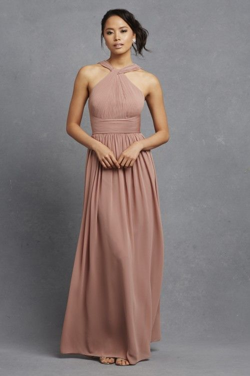 Donna Morgan Hayley Dress In Hibiscus Tea Long Chiffon Bridesmaid With Unique Neckline