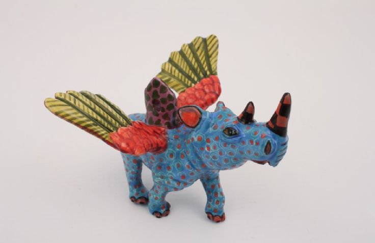 Ardmore winged Rhino - Christmas decoration.