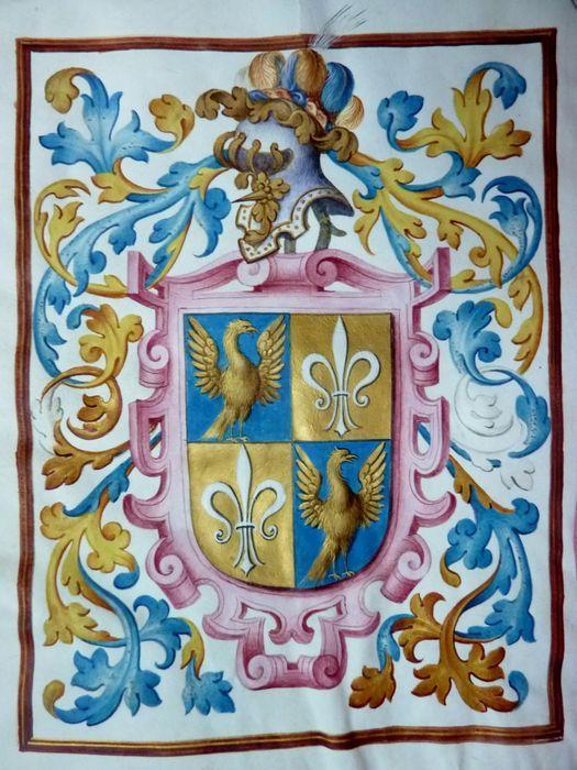 Carta executoria – De Koning van Spanje, Fillips II verheft Jacobo y Francisco Aguilar, uit Borja, op 28 mei 1596 te Saragossa in de adelstand – 23 bladen perkament waarvan 37 pagina's in Latijn beschreven, en 1 volblad handgeschilderd wapen beschermd door meegebonden roze zijde en handgeschept papier uit de tijd. De beginregels zijn opgehoogd met goud evenals het wapen in 5 kleuren (gouache) – Leren band, alle zijden goudgestempeld en met randversieringen, schutbladen in perkament, met…
