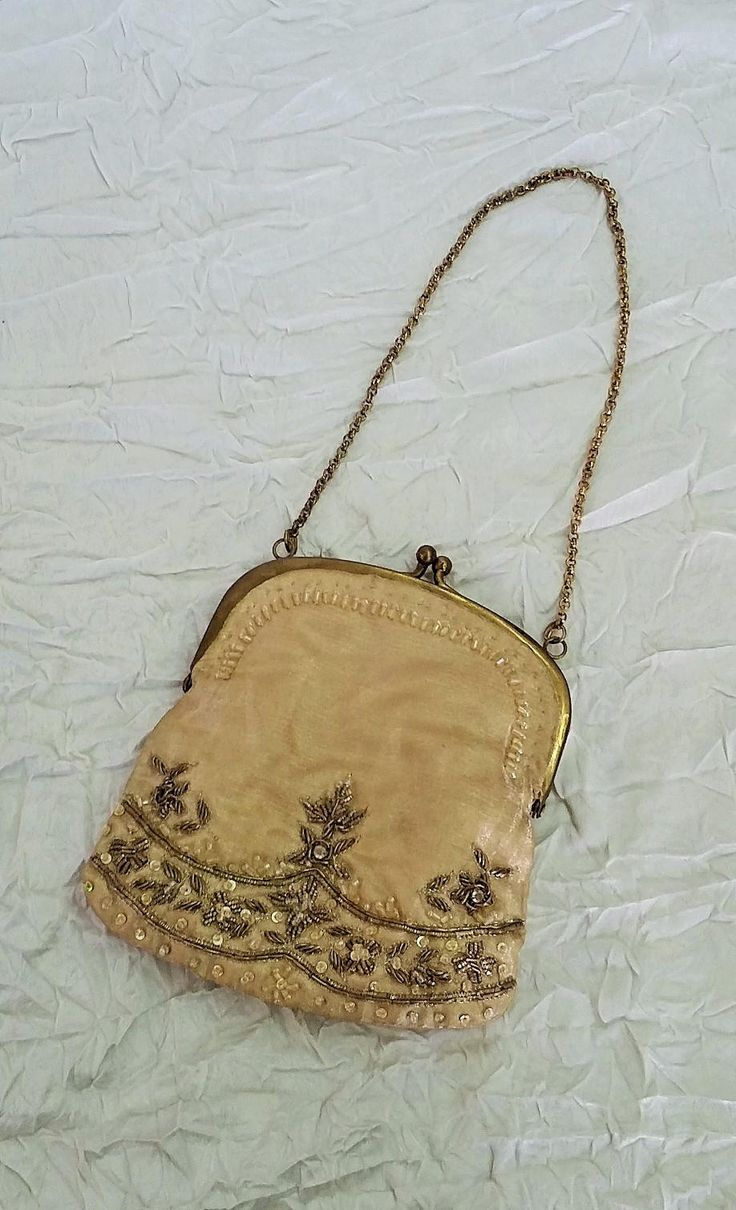 Small Evening Purse, Prom Bag, Beige Silk & Metal Beading, Wristlet Chain, Made in India