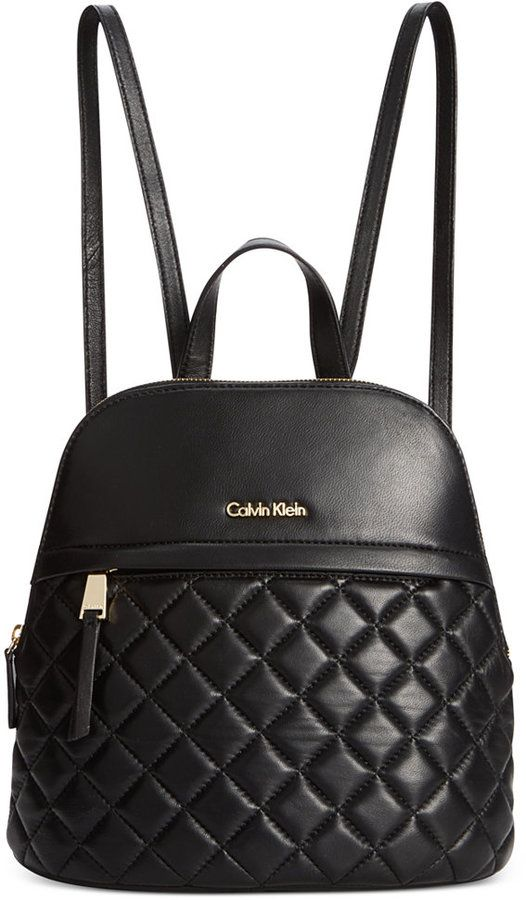 $268, Black Quilted Leather Backpack: Calvin Klein Chelsea Lamb Backpack. Sold by Macy's. Click for more info: https://lookastic.com/women/shop_items/141115/redirect