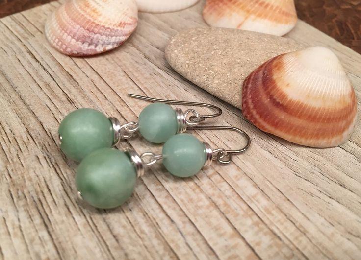 Seafoam green dangle beaded earrings glass simulated Amozonite summer fresh fun woman wear by wandandwear on Etsy