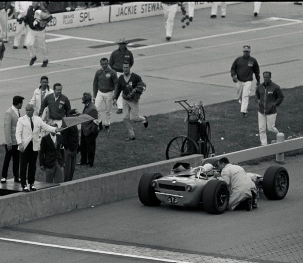 When Andy rushed to meet his coasting driver on the track, the turbine was running perfectly, but no power was reaching the wheels. Only later did he realize that had his crew left the disabled car where it stopped, instead of pushing it back to the pits, Parnelli Jones would've been awarded third place, instead of sixth.