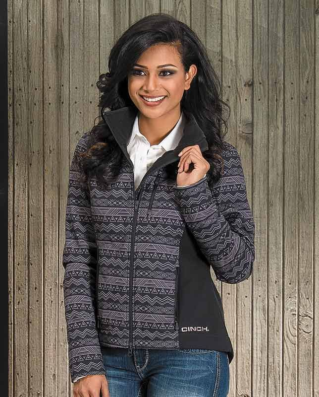 Cinch Women's Black and Grey Print Bonded Logo Jacket #Fall2015 chevron stripe technical jacket layering layerable jacket gifts for women ladies zip front chest pocket clothes for chores barn work back to school