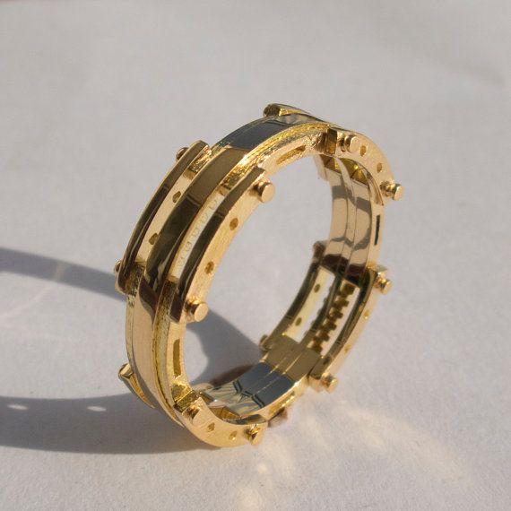 Gold Wedding Band, Men's 14K Gold Wedding band, Wedding ring, Mens ring, mens jewelry, steampunk band