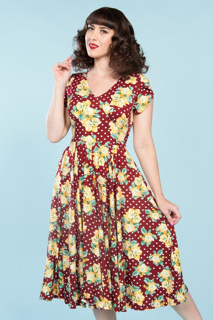 Roxy Vintage Dress in Burgundy | Pinup Girl Clothing