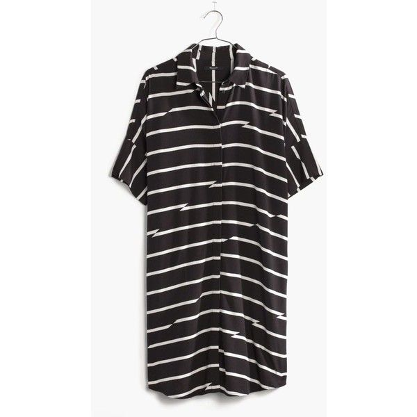 MADEWELL Courier Dress in Breakstripe ($98) via Polyvore featuring dresses, charcoal grey, rayon shirt dress, rayon dress, striped shirt dress, viscose dress and stripe dress