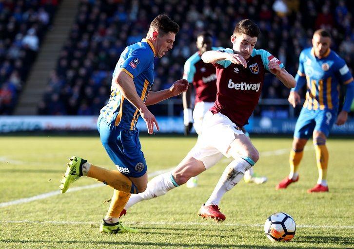 Declan Rice in action at Shrewsbury Town
